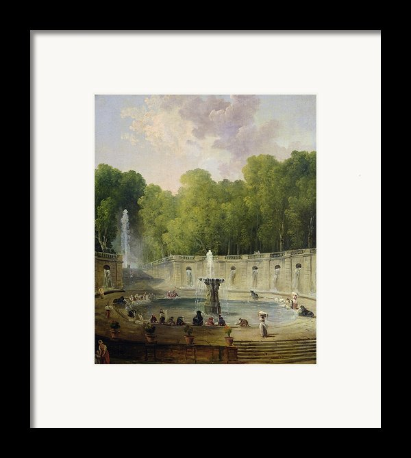 Washerwomen In A Park Framed Print By Hubert Robert