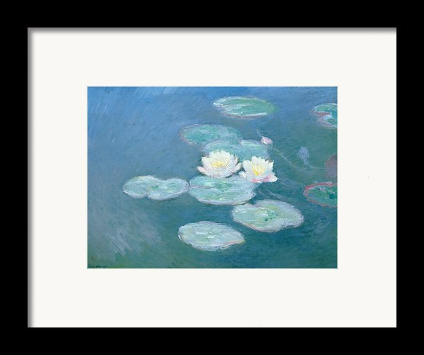 Waterlilies Evening Framed Print By Claude Monet