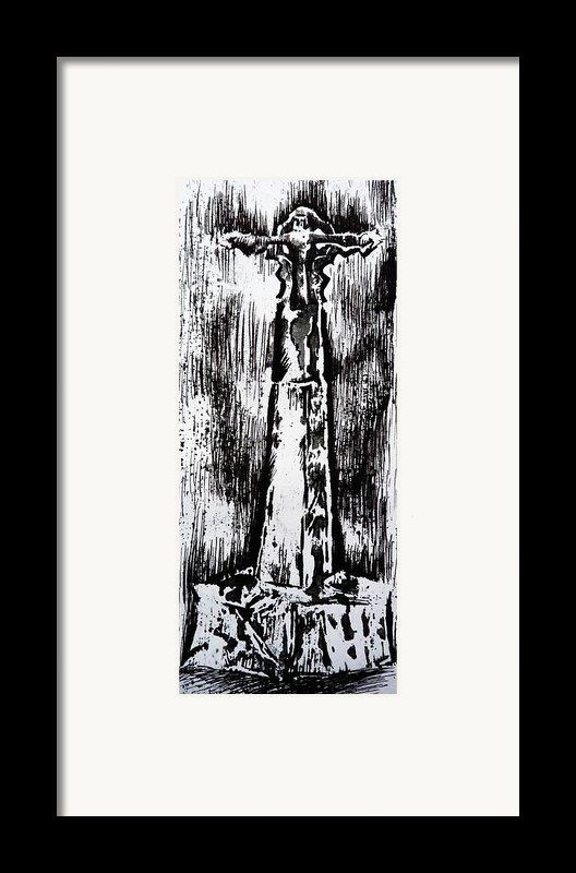 Wayside Cross Framed Print By Lucy Deane