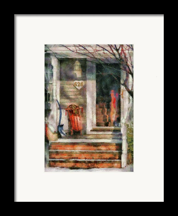 Winter - Rosebud And Shovel - Painted Framed Print By Mike Savad