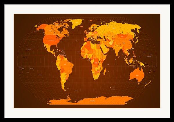 World Map Fall Colours Framed Print By Michael Tompsett