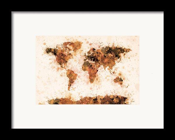 World Map Paint Splashes Bronze Framed Print By Michael Tompsett
