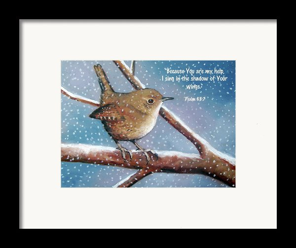 Wren In Snow With Bible Verse Framed Print By Joyce Geleynse