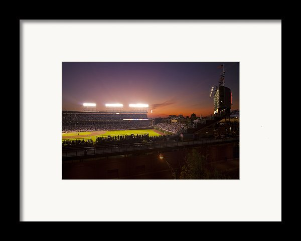 Wrigley Field At Dusk Framed Print By Sven Brogren