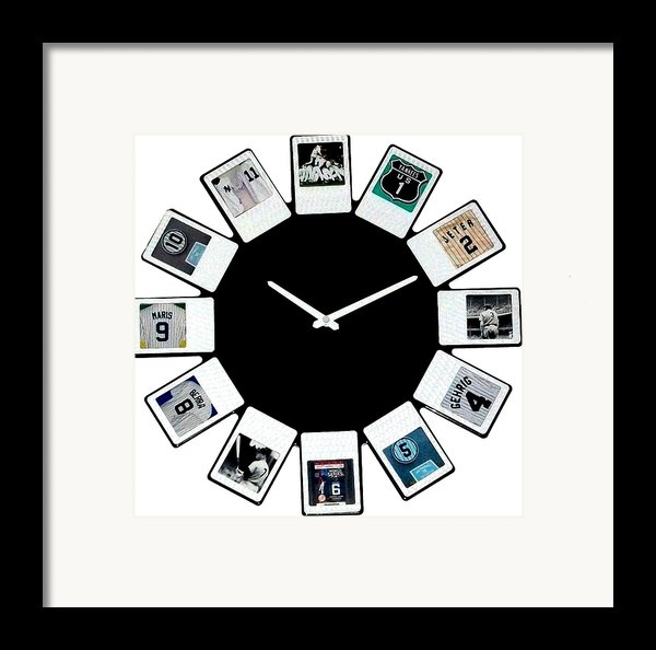 Yankees Clock Framed Print By Paul Van Scott