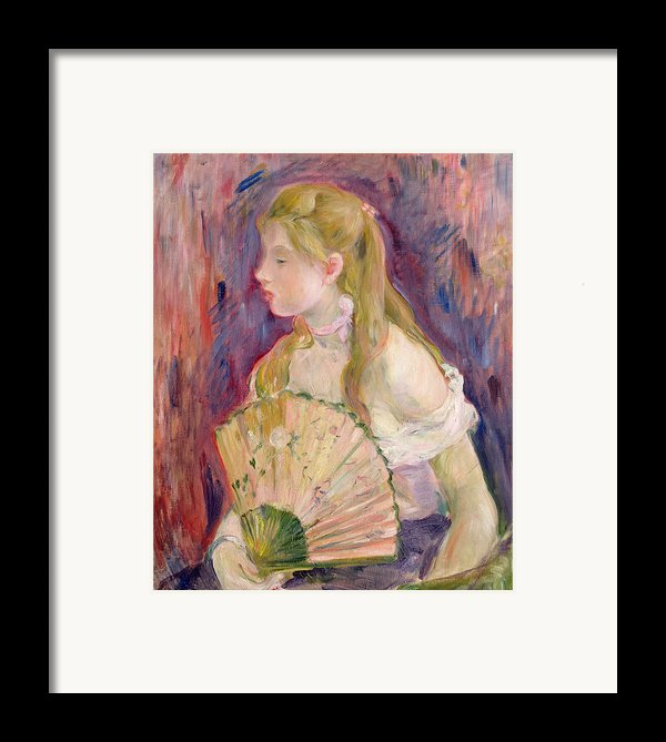 Young Girl With A Fan Framed Print By Berthe Morisot