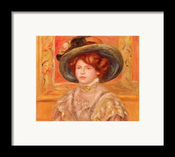 Young Woman In A Blue Hat Framed Print By Pierre Auguste Renoir